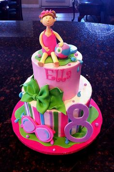 Swimming cake design using pretty pink colours. Pool Birthday Cakes, Pool Party Cakes, Pool Cake, Birthday Parties, Fondant Cakes, Cupcake Cakes, Cupcakes, Party Fish And Chips, Swimming Cake