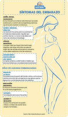 Infografía sobre lo síntomas más frecuentes del embarazo y otros más solo en algunas embarazadas.