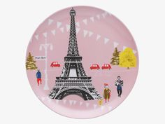 Designed by Lizzie Allen for Habitat, this Lizzie melamine side plate captures the iconic imagery of Paris in a fun illustrative style. Blue Side Plates, Picnic Plates, A Moveable Feast, Uk Homes, Plate Design, Furniture Upholstery, Tour Eiffel, Shop Lighting, Quote Posters