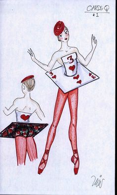 Card costume sketch by Liz Vandal for The Washington Ballets Alice in Wonderland