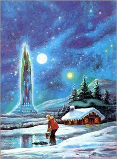 Wintertime painting by Frank Kelly Freas.  Story City Machine by Louis Trimble
