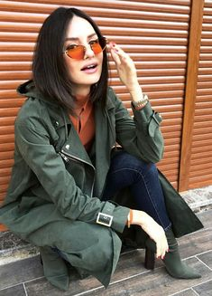 Yasemin Özilhan Military Jacket, Streetwear, Women's Fashion, Actresses, My Style, Jackets, Life, Clothes, Style