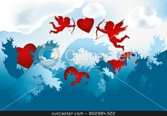 Sea of love - cupids on heart hunting stock vector