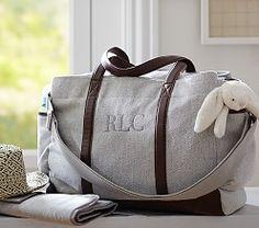 Grey Herringbone Classic Diaper Bag