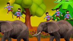 Five Little Monkeys Jumping on the Elephant | Animal Nursery Rhymes for ...