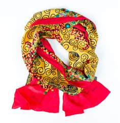 Silk Scarf with motif Vienna Art Nouveau silk screened by hand hand-rolled #Rosberg #Scarf
