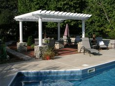 Wood Grain Aluminum Pergola Pergola and Patio Cover Shading Solutions Group Inc. Pergola Carport, Pergola Patio, Pergola Kits, Pergola Ideas, Wedding Pergola, Carport Ideas, Carport Garage, Small Pergola, Fence Ideas