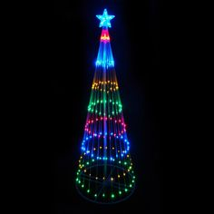 NorthLight 9 in. Multi-Color LED Light Show Cone Christmas Tree Lighted Yard Art Decoration Features. Pre-lit with 344 multi-color mini LED lights. Outdoor Christmas Figures, Christmas Tree Yard Art, Outdoor Led Christmas Lights, Christmas Tree Decorations Items, Holiday Lights, Light Decorations, Holiday Decor, Xmas, Christmas Ideas