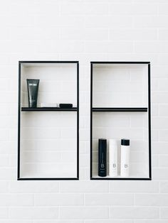 Beautycounter bath products with daily shampoo, daily conditioner, and body wash in modern bathroom Bathroom Colors, Master Bathroom, Bathroom Interior, Small Bathroom, Small Master Bathroom, Bathroom Design, White Subway Tile, White Bathroom, Bathroom Layout