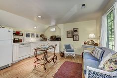 Charming carriage house kitchen under eave, no wall cabinets