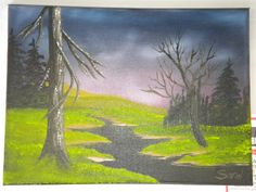 dark night original oil painting. original piece of artwork created on an A4 size canvas using oil paints.