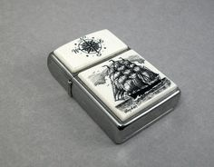 Magic City Inspired. Ivory Scrimshaw on Zippo Pipe Lighter Sailing Ship by lindalayden, $95.00