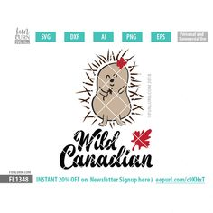 Wild Canadian Cute Porcupine SVG cutting files, DXF EPS PNG and Ai Files for your craft cutters Silhouette Cameo, Cricut etc. Craft Cutter, Canada Day, Silhouette Studio, Cricut Design, Commercial, Space, Business, Check, Cute
