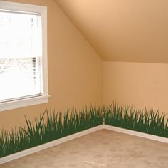 Grass for Zoe's room $75 for all 4 walls...Instead of doing this, just paint bottom of the wall green??? Then could paint in hills for smaller tree's?