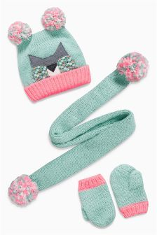 Mint Cat Hat, Scarf and Mitten Set (Younger Girls)