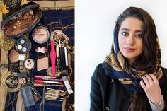 Iranian Women Unpack Their Makeup Bags — And So Much More | Hanieh Ghahremani, 19, student of mathematics at pre-university level. Hanieh says that she learnt embellishment through satellite programs when she was 9. She believes that makeup makes a girl more attractive for men. She changes all her makeup every 3-4 months. She believes heavy makeup is due to hijab, since it prevents women from showing their body, and thus extra efforts are made to make the face more attractive by wearing makeup.