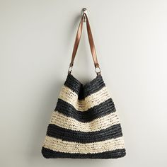 Black and Cream Woven Beach Bag