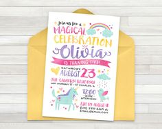 This rainbow unicorn birthday invitation is just the right detail for your little ones magical party! The invitation is personalized with your childs name and party details and can be customized for any age. 300 DPI JPEG. 5 x 7. Pink, white, blue, yellow, purple. Made in the USA. DELIVERY: After your payment has been received, your file will be sent to your email within 24-48 hours. Orders will be sent Monday through Friday, 9:00 am - 5:00 pm CST. SATURDAY & SUNDAY ORDERS WILL BE SENT ON…