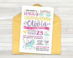 Rainbow Unicorn Birthday Invitation Party