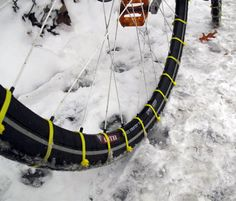 Nice way to adapt your bike tires so you can ride even on the icy roads in winter!