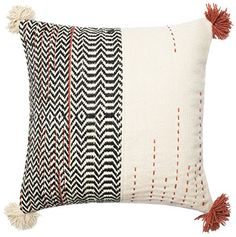 "POLY SET Loloi PSETP0227BLIVPIL3 Cover with Poly Fill Decorative Accent Pillow, 22"" x 22"", Black/Ivory"