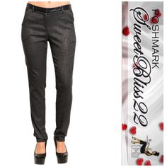 Black/Charcoal Grey Pants Simply stunning pants! Faux leather trim! Don't miss out. Only size S. Don't miss out! S measures 28 inches in the waist. Pants