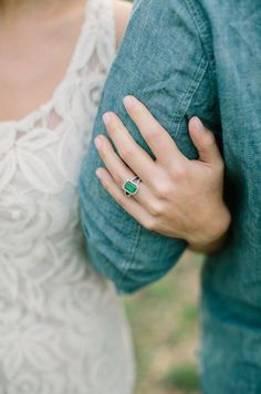 Emerald engagement ring | I love the color + simplicity.