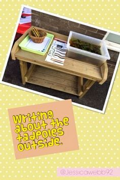 Drawing and writing about the tadpoles on our outdoor mark making station.