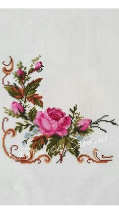 New Finished Completed Cross Stitch - Multi-color peony - Dmc Cross Stitch, Cross Stitch Borders, Modern Cross Stitch Patterns, Cross Stitch Flowers, Counted Cross Stitch Patterns, Cross Stitch Embroidery, Hand Embroidery Videos, Needlepoint Patterns, Fabric Painting