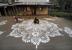 Stunning alpana painted for the Hindu festival Makar Sankaranti, in the Lankamura village of Agartala. Jan. 2014