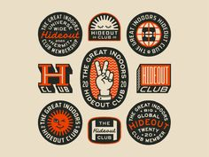 The Hideout Club designed by Luke Harrison. Connect with them on Dribbble; Lettering, Typography Design, Branding Design, Club Design, Print Design, Identity, Badge Logo, Marca Personal, Shops