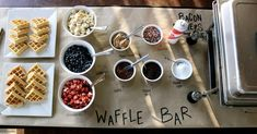 Waffle bar! Like the idea of craft paper that you can write on to identify the items being served. Rustic and cute:)