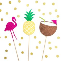 3 piece glitter tropical photo booth props by BashandCoParty