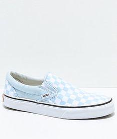 b6d8904295 Vans Slip-On Baby Blue   White Checkered Skate Shoes