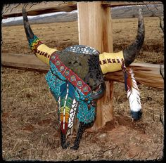 """""""NATIVE DREAMS""""  Another view of the Bison Skull Mixed Media Mosaic.  """"Native Dreams"""""""
