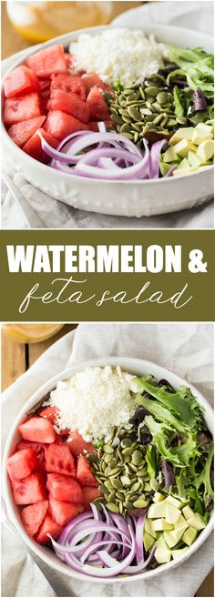 Watermelon and Feta Salad - A fresh summer salad that is delicious on its own or paired with grilled chicken breasts or steak!