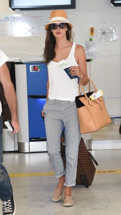 grey pants, white tank, nude hat, bag and flats outfit