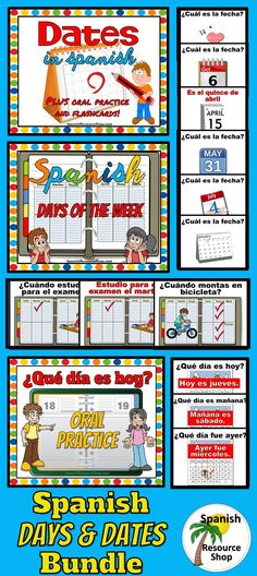 Wow! Three different Power Points to practice the Spanish days of the week and dates! Perfect for class warm up or cool down!