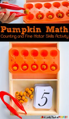 Halloween Pumpkins Fine Motor Skills Math Tray: This activity is easy to set up and can be played two different ways for kids to work on number recognition, counting, and fine motor skills. Add some pumpkin counting fun to your little one's fall learning! Halloween Math, Halloween Activities For Kids, Theme Halloween, Autumn Activities, Halloween Pumpkins, Halloween Ideas, Preschool Fine Motor Skills, Motor Skills Activities, Learning Activities