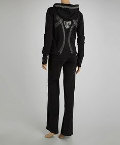 Loving this Black Studded Fleur-de-Lis Hoodie & Lounge Pants on #zulily! #zulilyfinds