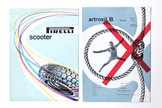 A 1958 Pirelli advertisement by Max Huber (left) and a 1949 medical advertisement (right) by Franco Grignani