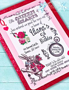 Queen of Hearts Party Alice in Wonderland by CutiePuttiPaperie, $15.50