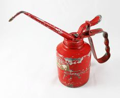 Vintage Red KABI Oil Can  Made In Denmark by MiraOnTheWall on Etsy, $16.00