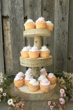Beautiful Aspen wood cupcake tiers add height to your dessert table. What a great way to create a memorable display!