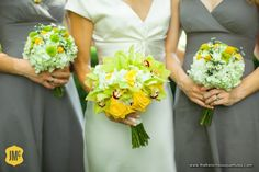 Brightly Colored Yellow and Green Bridesmaid and Bridal Bouquets of Hydrangea, Dendrobium Orchids, Roses, Cymbidium Orchids, Green Button Mums, Billy Balls and Daisies - The French Bouquet