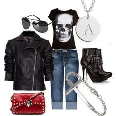"""""""Motorcycle Mama!"""" by redcarna on Polyvore- getting down w/my motorcycle badself! -HH"""