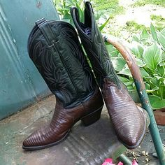 """Justin reptile cowboy boots Two toned leather with brown top stitching. Shaft is 13"""" from top of boot to bottom heel. 1 1/2"""" heel. Really excellent shape, hardly worn.  No box. Size 7 1/2B. Justin Shoes Heeled Boots"""