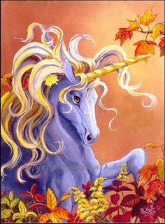 CARDS  SET of FOUR  Unicorns golden  4 x 5 by OriginalSandMore, $8.50