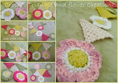 Susan Pinner: CROCHET TRIANGLES AND FLOWERS...Still don't know w... love the flower pattern for garlands