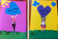 11 Adorable DIY Mother's Day Cards Photo cards - 15 Easy Ideas for Mothers Day Cards Kids Can Make - ParentMap Kids Crafts, Mothers Day Crafts For Kids, Fathers Day Crafts, Mothers Day Cards, Toddler Crafts, Happy Mothers Day, Toddler Preschool, Yarn Crafts, Mother's Day Projects